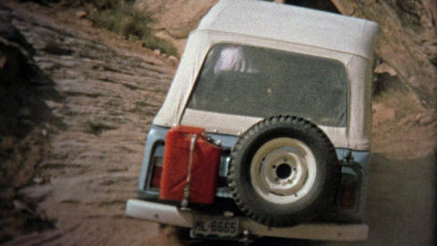 1971: Jeep Climbing Hills At Elephant Hill Off-road Track stock footage