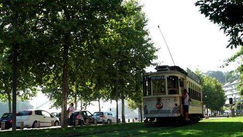 Historical tram in Porto, Portugal in a summer day Footage