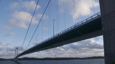Suspension Bridge Low Angle View stock footage
