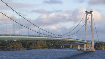 suspension bridge norway cars passing by medium view Footage