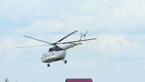 Helicopter MI-8 take-off Live Action