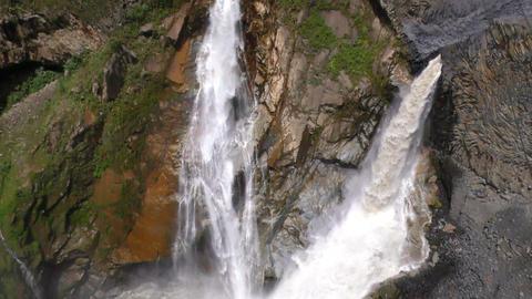 Agoyan waterfall in Ecuador twin waterfall camera tilt slow motion Footage