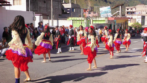 Group Of Dynamic Dancers On The Streets Of Banos De Agua Santa Live Action
