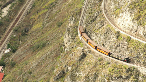 Railway tracks terraces on Nariz del Diablo point in Ecuadorian mountains Footage
