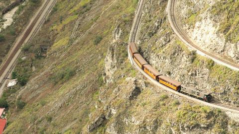 Railway Tracks Terraces On Nariz Del Diablo Point In Ecuadorian Mountains stock footage