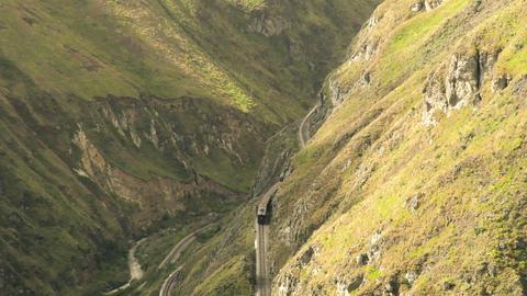 High angle shot of Nariz del Diablo railway passage in Ecuador Footage