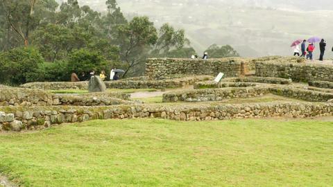 Large group of tourists at Ingapirca ruins Footage