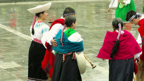 Quechua peasants celebrating Inti Raymi or Festival Of The Sun Footage