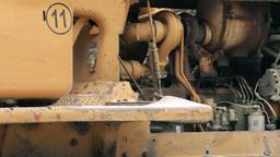 Bulldozer Turbo Diesel Engine Close Up Live Action