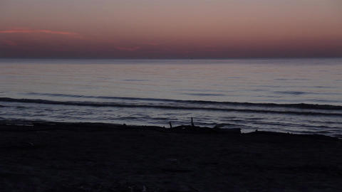 Beach Waves Twilight, Night Footage