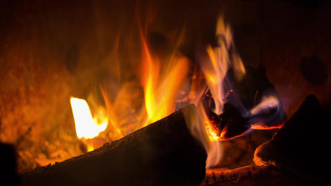 Campfire Pit Flames Close Up stock footage