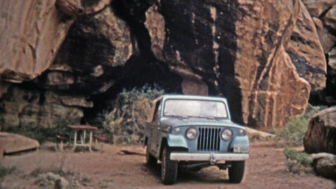 1971: Devils Kitchen campsite proves to be a scenic place for lunch for a Jeep d Footage