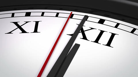 Close-up of a clock with Roman numerals striking twelve Animation
