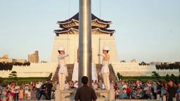 Honor Guard lowering flag Footage