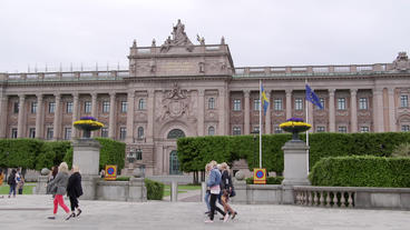 Swedish Parliament Building Stockholm Street View stock footage