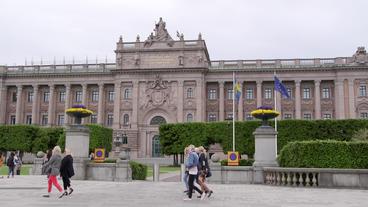 Swedish Parliament Building Stockholm Street View stock footage