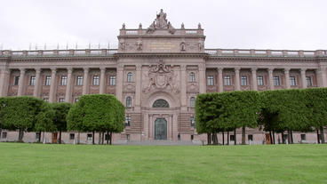 Swedish parliament building Stockholm front low angle view Footage
