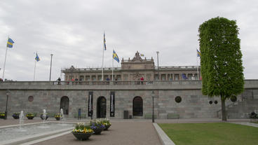 Swedish Parliament Building Stockholm Distant View stock footage