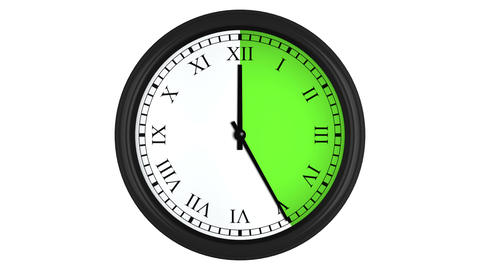 Animated clock with Roman numerals and a green time interval Animation