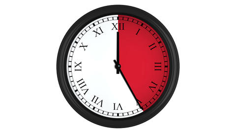 Animated clock with Roman numerals and a red time interval Animation