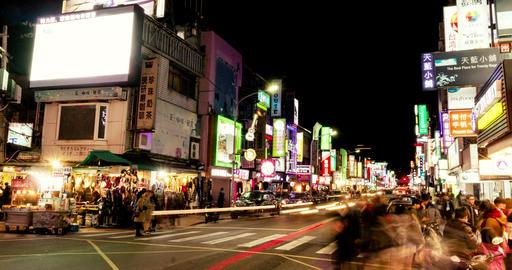 Timelapse View Of Taipei Shilin Night Market. 4K ภาพวิดีโอ