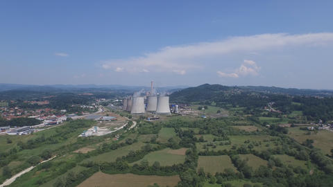 Thermal power plant aerial footage Footage