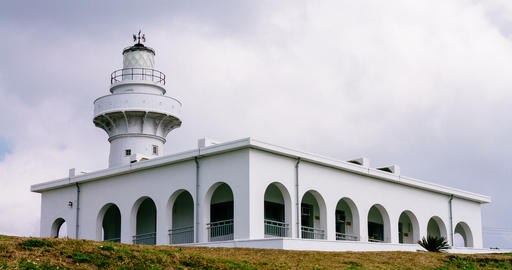 Timelapse View Of Oluanpi Lighthouse In The Daytime. 4K Live Action