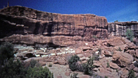 1972: Mountain goats freely roaming the dangerous cliffs edges Footage