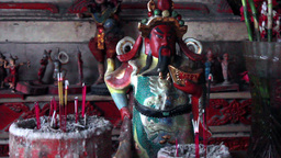 Old Chinese And Thai Religious Figurines stock footage