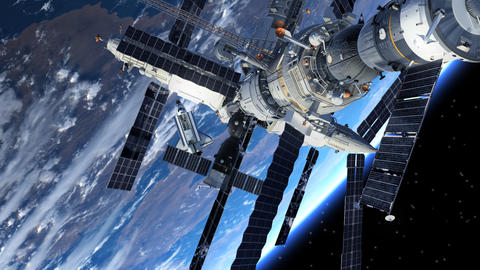 Space Station And Space Shuttle Orbiting Earth Animation
