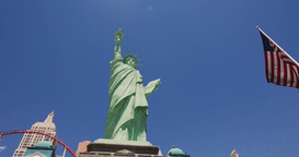 Steadicam Las Vegas New York .New York. Statue Of Liberty stock footage
