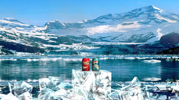 Frozen ICe Broken For Beverade Product Promotion Pepsi VS Coca Cola stock footage