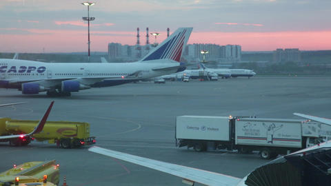 The Landed Plane Goes To The Parking At The International Airport Vnukovo stock footage