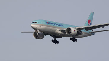 Korean Air Cargo Boeing 777 arrival super slow motion Footage