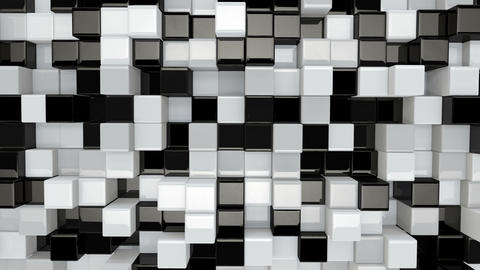 black and white 3D boxes moving seamless loop 4k (4096x2304) Animation