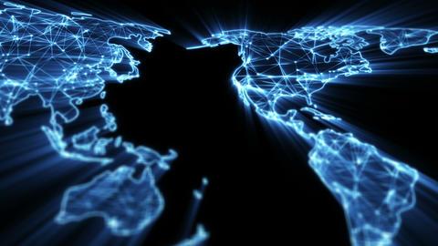 glowing blue world map panning seamless loop 4k (4096x2304) Animation