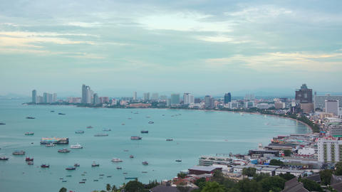 boats in bay of Pattaya city at evening timelapse 4k (4096x2304) Footage