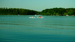 Young People Kayaking In The Lake. Recreational Activity Footage