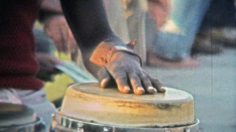 1973: Local Caribbean talented musicians playing conga drums on tourist travel d Footage