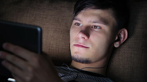 Young Man With Tablet At Night stock footage
