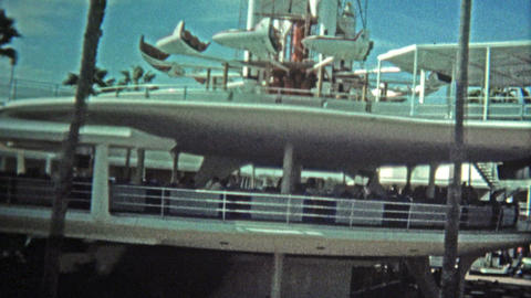 1972: Walt Disney World Trains And Views Of The Cinderella Castle stock footage