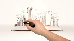 Book opening to cityscape sketch Animation