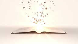 Book opening with flying golden letters Animation