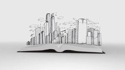 Book opening to show cityscape sketch Animation