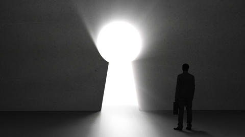 Businessman looking at giant keyhole Animation