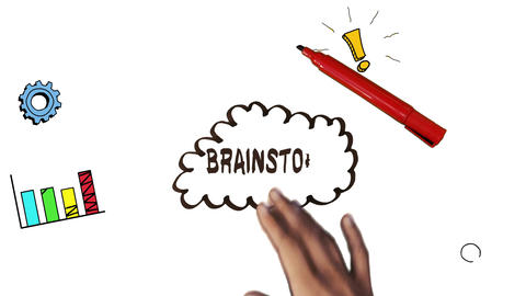 Hand drawing brainstorm with doodles Animation