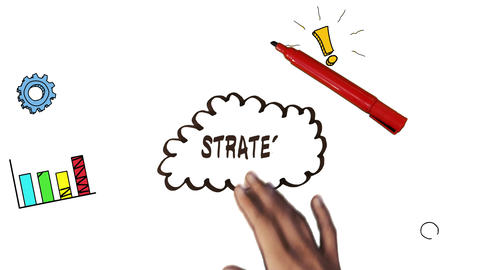 Hand drawing strategy brainstorm with doodles Animation