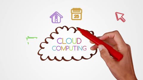 Hand drawing cloud computing brainstorm with doodle apps Animation