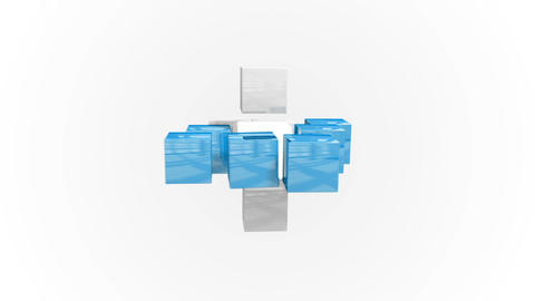 Blue and white abstract cube grid Animation