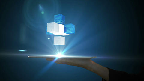 Businesswoman using tablet with holographic cubes Animation